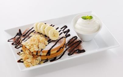 チョコレートとバナナのパンケーキ